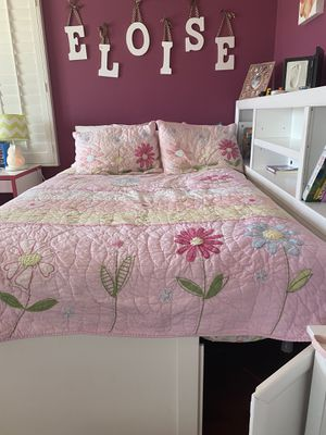 Double bed frame with hideaway, 4 drawers and attached bookshelf for Sale in San Diego, CA