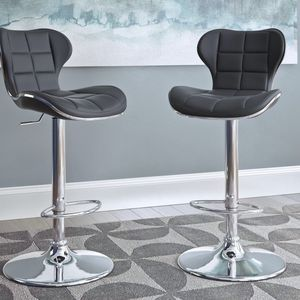 chair/Adjustable Height Black Bonded Leather Swivel Bar Stool (Set of 2) for Sale in Fort Worth, TX