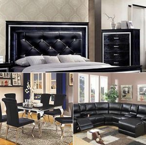 $5,999 3 ROOMS PKG : Included 7-Pieces Dining Set 4- Pieces Queen bedroom Set 1- Black Bonded Leather Sectional with Chase 1-2 pieces mattress s for Sale in Chino, CA