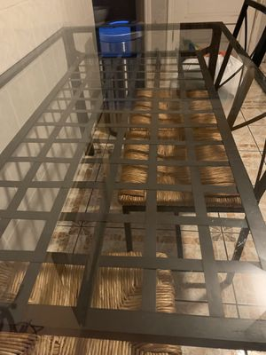 Glass Table With Chairs for Sale in Chicago, IL