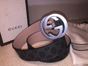 Gucci Interlocking Signature Guccissima Black Lining Silver Buckle Leather Belt for Sale in New York, NY