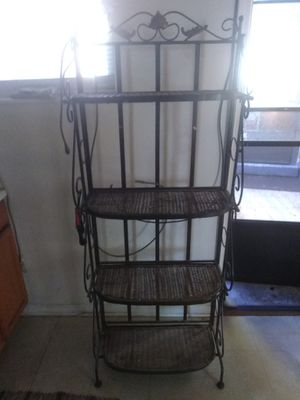 Iron and wicker bakers rack for Sale in River Forest, IL
