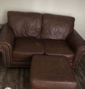 Leather couch with ottoman for Sale in Tampa, FL