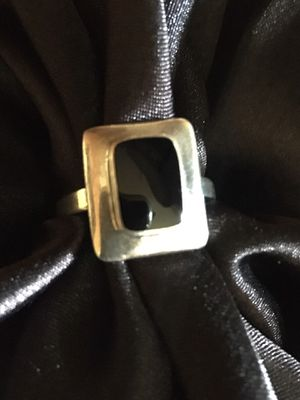 Hand Made OMA Black Onyx Stamped 925 Sterling Silver Ring Size 8 for Sale in Raymore, MO