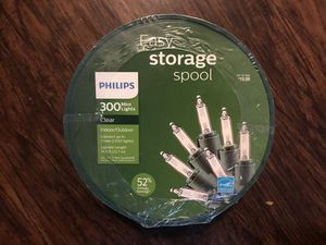 Philips clear 300 mini lights easy storage spool for Sale in Riverside, CA