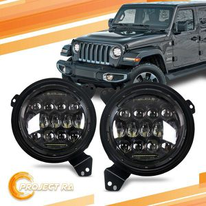 """7"""" 75W LED Headlights with DRLs and Brackets + Adapters for Jeep Wrangler JL for Sale in Fullerton, CA"""