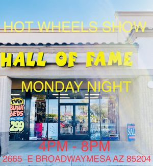 HOT WHEELS SHOW AT HALL OF FAME COLLECTIBLES BROADWAY AND LINDSAY MONDAY JULY 13TH 4PM-8PM for Sale in Mesa, AZ
