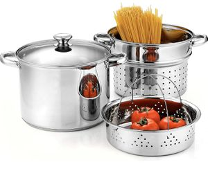 Cook N Home 02401 Stainless Steel 4-Piece 8 Quart Pasta Cooker Steamer Multipots for Sale in Las Vegas, NV