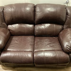 Leather Brown Couch Set for Sale in Kent, WA