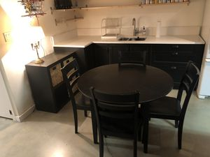 Kitchen Kaboodle Wood Black Round Table folding 4 chairs 42 inch for Sale in Milwaukie, OR