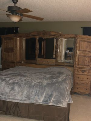 Solid oak master bedroom set Versailles collection for Sale in Saint Charles, MO
