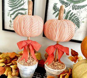 Orange and cream striped pumpkin topiary set for Sale in Covington, GA
