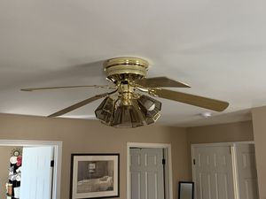 Ceiling fan, with 5 bulb light. Brass w/ glass fixtures. 52 in. Excellent quality for Sale in Manassas, VA