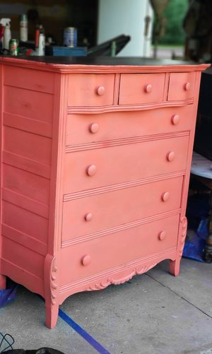 Chic Coral Vintage Dresser with Dark Stained Wood Top for Sale in Cadillac, MI