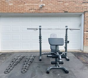LIKE NEW HOME GYM SET WITH 255LBS OF WEIGHTS - EVERYTHING IN THE PHOTOS for Sale in Cockeysville, MD