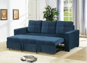 NAVY BLUE POLYFIBER LINEN LIKE SOFA ADJUSTABLE BED COUCH - SILLON CAMA - PULL-OUT SLEEPER for Sale in Coronado,  CA