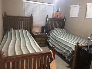 2 oak twin beds with 2 nightstands for Sale in Phoenix, AZ