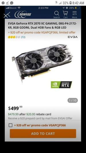 Brand new still have box retails for 500 dollars it's a top graphics card in the market you can maximize your frames for Sale in Worcester, MA
