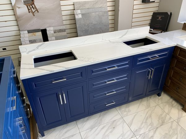 "72"" Navy Blue Raised Panel Double Sink Bathroom Vanity Cabinet Calcatta Quartz Top"