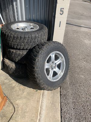 Mud terrain tires and Jeep wheels used: 4 BF Goodrich mud terrain 265/70R17 used and 4 original Jeep wheels for Sale in Ashland City, TN