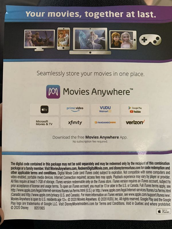 Digital Movie Frozen 2 Disney HD Code