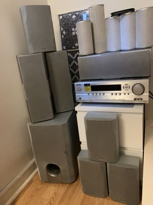 Onkyo HT-R540 receiver with 12 speakers; subwoofer; wire; home theater for Sale in Chicago, IL
