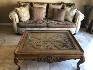 Coffee table and end table , beautiful carved wood and glass top for Sale in San Diego, CA