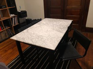 Vintage dining table with real marble and leather chairs for Sale in Columbus, OH