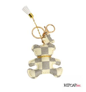 Bear Purse Bag Charm Key Chain FOB Handbag White Faux Leather Gold Plated Link for Sale in Baltimore, MD