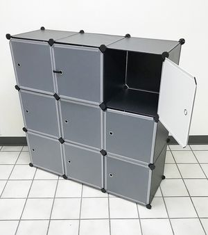 "New $35 Plastic Storage 9-Cube DYI Shelf with Door Clothing Wardobe 43""x14""x43"" for Sale in South El Monte, CA"