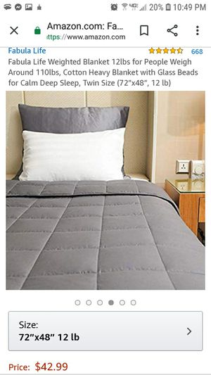 New 12 Pound Weighted Blanket - Great for Anxiety for Sale in Thomasville, NC