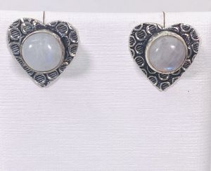 Natural rainbow 🌈 moonstones & .925 sterling silver heart ❤️ shaped stud posts earrings NEW! for Sale in Carrollton, TX
