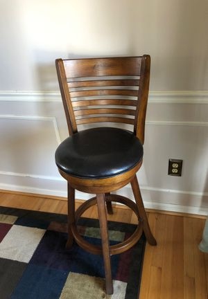 Two solid wood high table leather and oak chairs for Sale in Berryville, VA