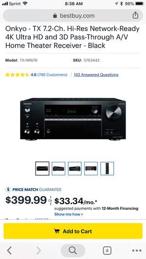 Onkyo home theater receiver 7.2 for Sale in Visalia, CA