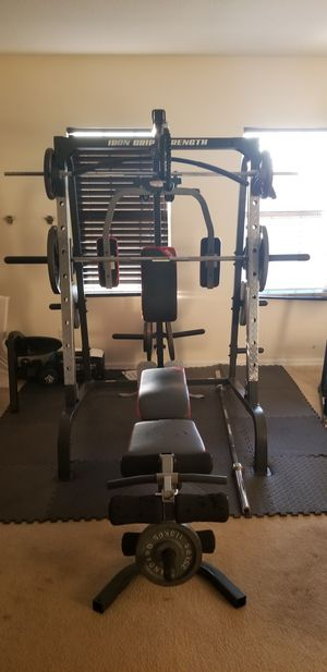 Iron grip strength gym set & Smith machine for Sale in Kissimmee, FL