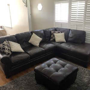 Leather Brown Sectional Sofa Couch for Sale in Irwindale, CA