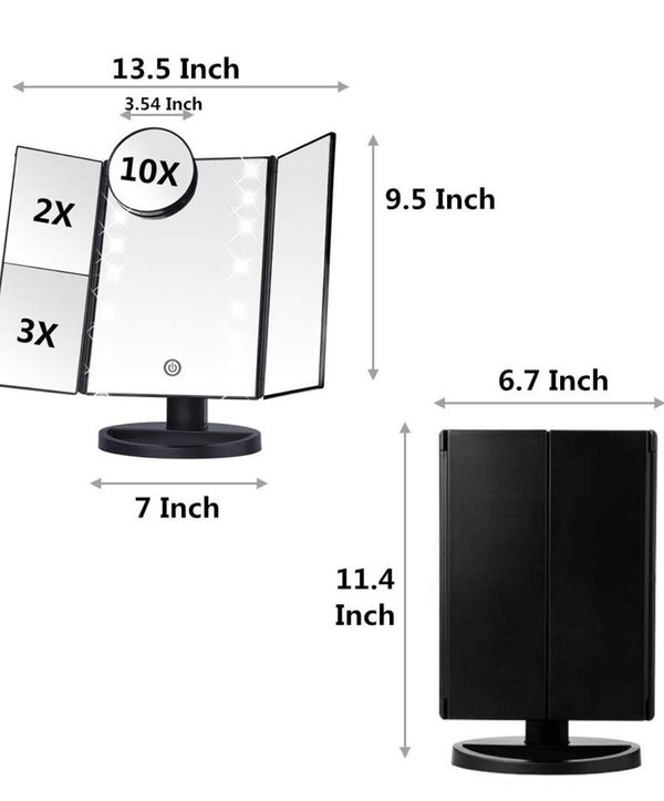 Makeup Vanity Mirror with 22 Led Lights,Tri Fold Mirror with 10x/3x/2x Magnification