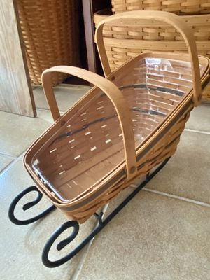Longaberger Sleigh-Vegetables basket with Protector&Wrought Iron Runners🥰 for Sale in Bellmore, NY