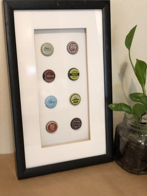 Black frame with bottle caps, decor for Sale in San Diego, CA