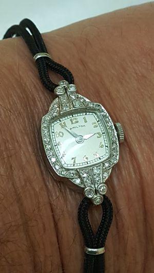 Antique platinum Hamilton 1.25ctw diamonds watch for Sale in Los Angeles, CA