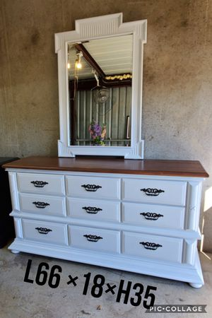 Dresser TV media entryway table refinished white with mirror for Sale in Cedar Hill, TX