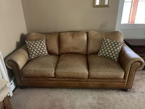 Real Leather Sofa with end table for Sale in Petoskey, MI