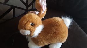 "1/3 Wondertreats Plush Rabbit Bunny Black Tip Poseable Ears 12"" Rust Brown White for Sale in US"