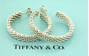Authentic Tiffany & Co. Somerset Mesh Hoop Earrings (Sterling Silver) for Sale in Alexandria, VA