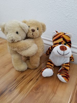 Gemini Twin Stuffed Bears and Tiger Stuffed Animal for Sale in Los Nietos, CA