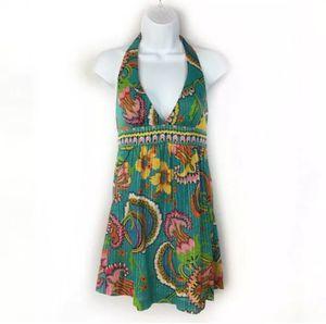 Trina Turk Teal Floral Resort Halter Dress for Sale in Princeton, NJ