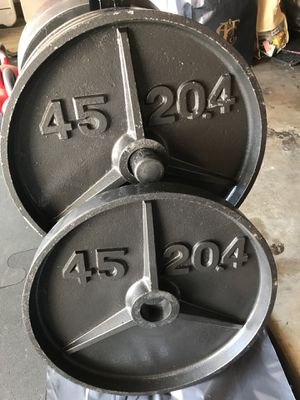 Olympic weights (2x45s) for $60 Firm!!! for Sale in Burbank, CA