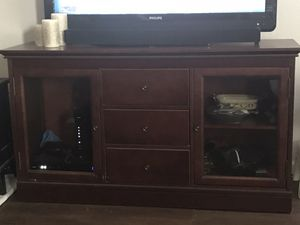 Small buffet table, 2 glass w/2 shelves & 3 drawers 54' long x16'wide 30' tall for Sale in La Vergne, TN