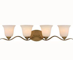 Dillard 4 Light Vanity - Natural Brass with White Glass - Light Fixture - for Sale in Saint Petersburg, FL