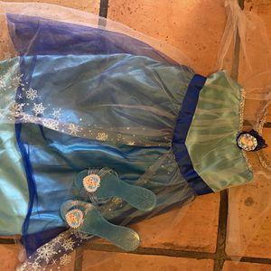 Princess Elsa dress - disney frozen dress - Disney slipper shoes - girls costume dress - play dress by- 2/3T for Sale in Chandler, AZ